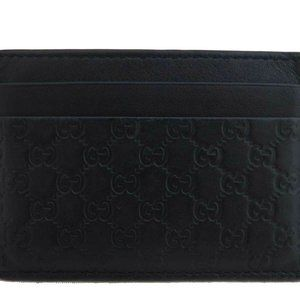 Auth Gucci Guccissima Outlet Item Card Case Navy